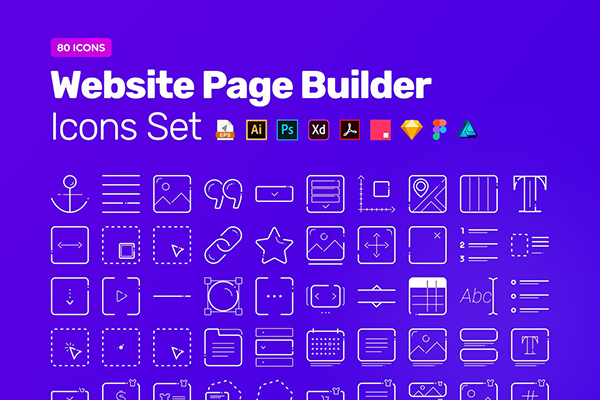 Website Page Builder Icon Pack – 80 Vector Icons