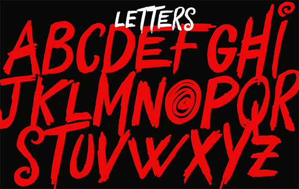 Yokai Font Letters and Numbers