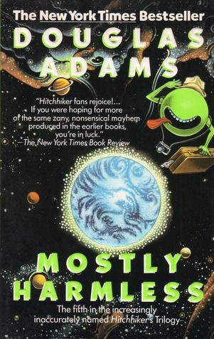 Cover of the novel Mostly Harmless, by Douglas Adams.