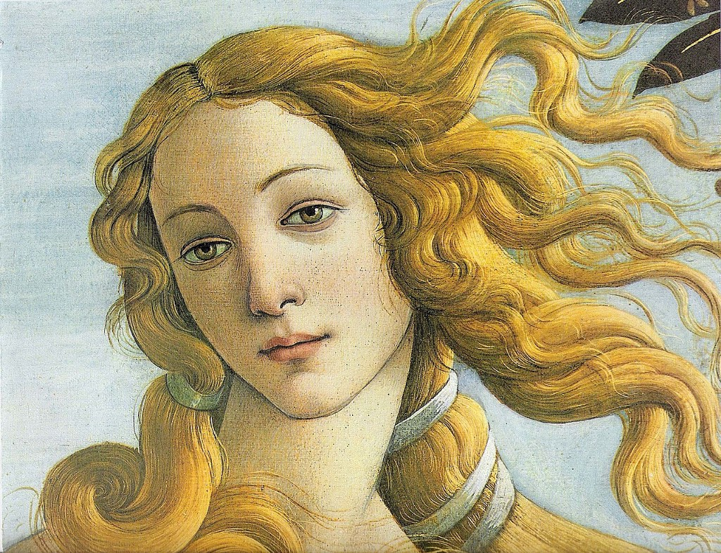 Detail of Venus's face in the Birth of Venus by Botticelli