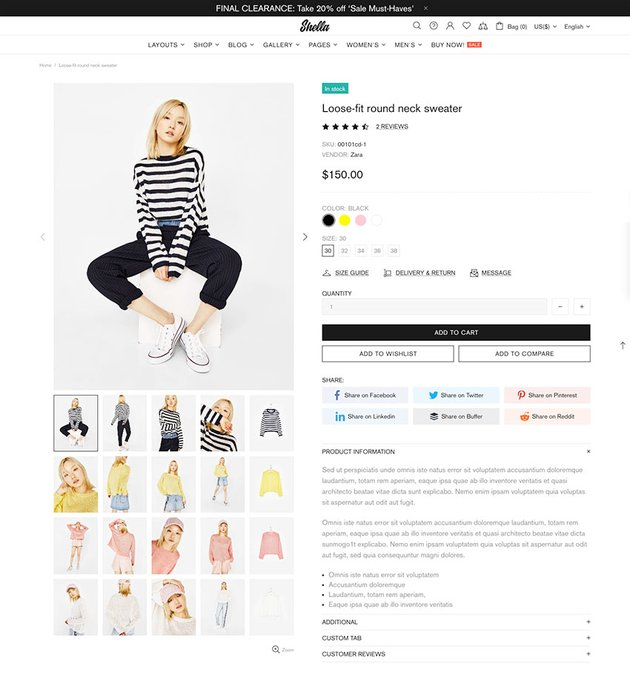color variants on the Shella shopify theme