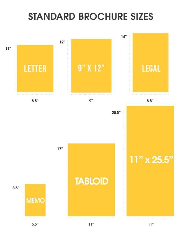 standard brochure sizes dimensions letter legal memo tabloid