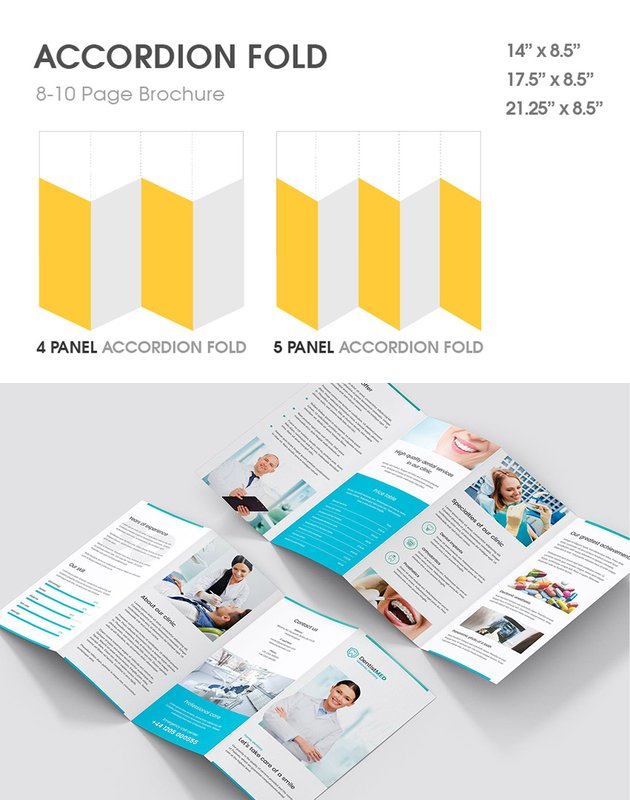 4 fold accordion fold style brochure style dentist