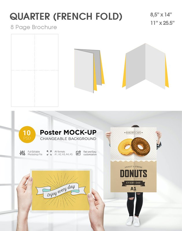 poster fold brochure mockup style quarter french fold