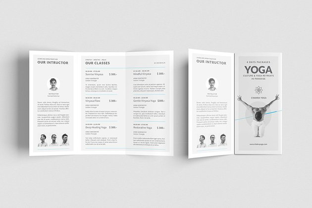 yoga class pamphlet brochure design