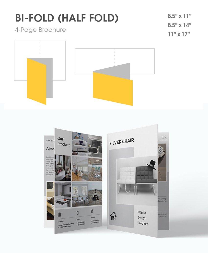 bi fold 4 panel single fold half fold sample brochure type