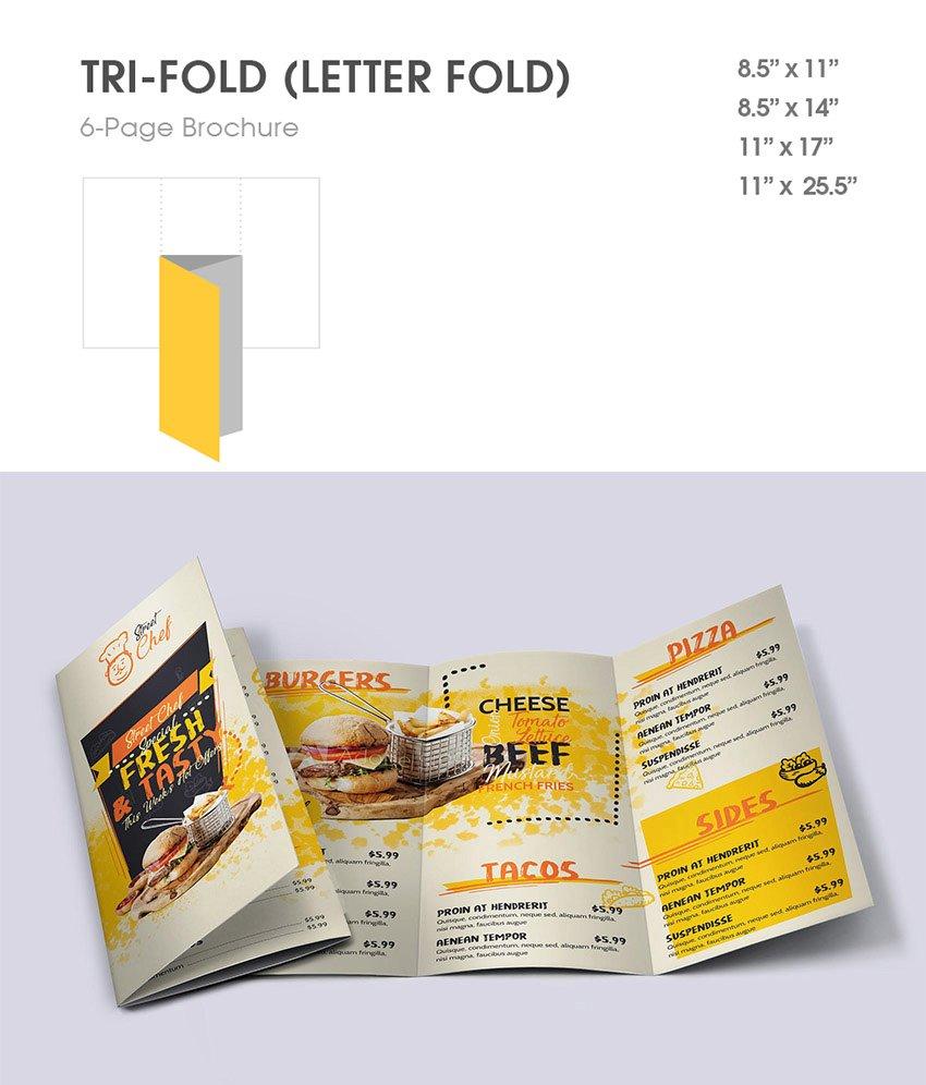 tri fold 6 panel letter fold brochure example restaurant menu