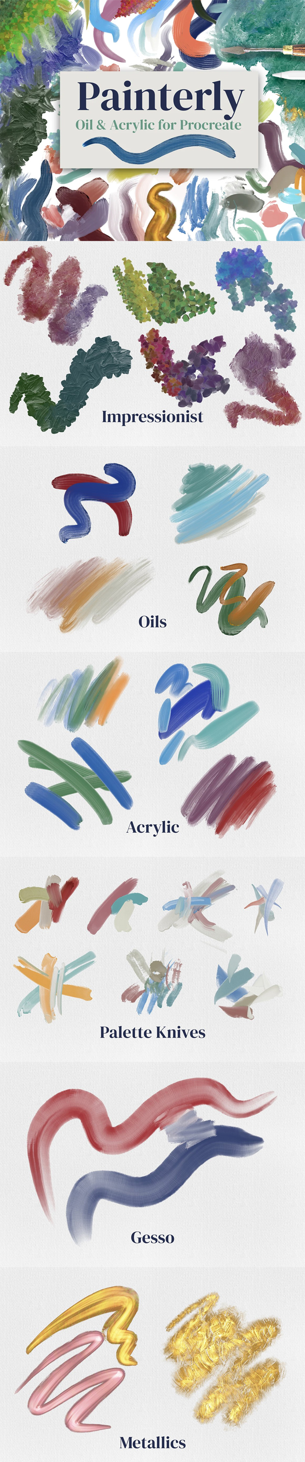 Painterly Brushes for Procreate