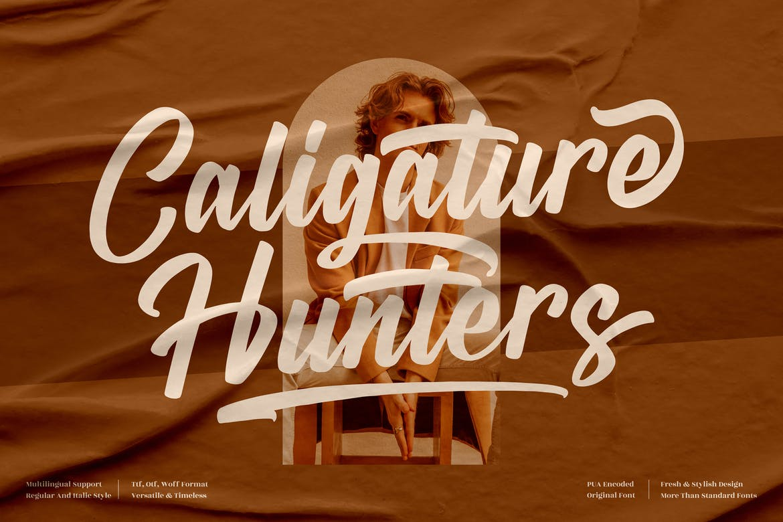 Caligature Hunters Modern Script LS Font