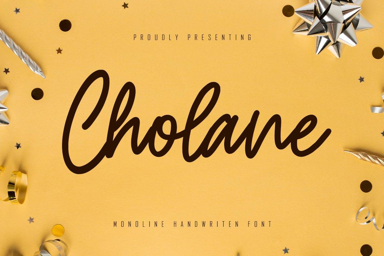 Cholane - Monoline Handwritten Font Font