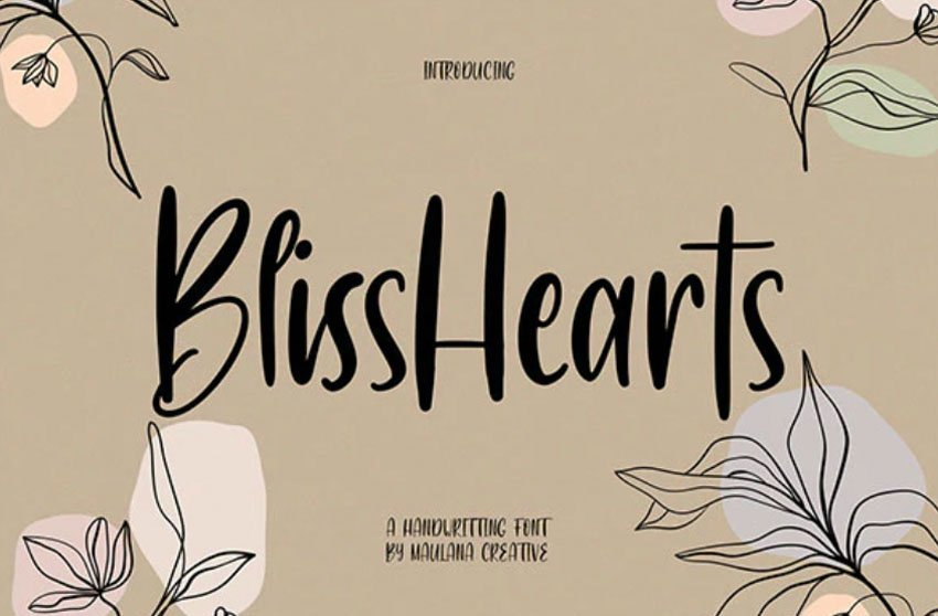 BlissHearts Handwriting Font