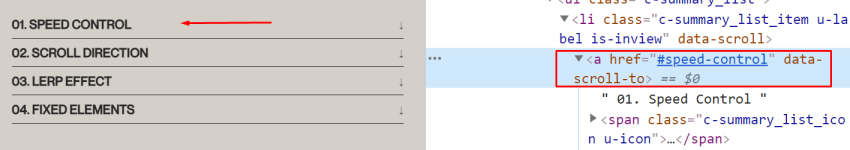 The required data-scroll-to attribute for smooth scrolling