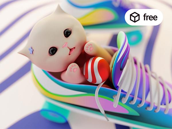 A Cute Cat 3D Illustration