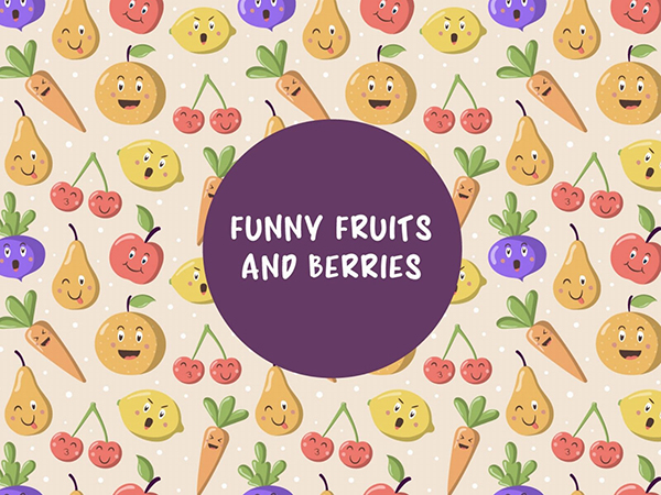 Free Vector Pattern With Funny Fruits and Berries
