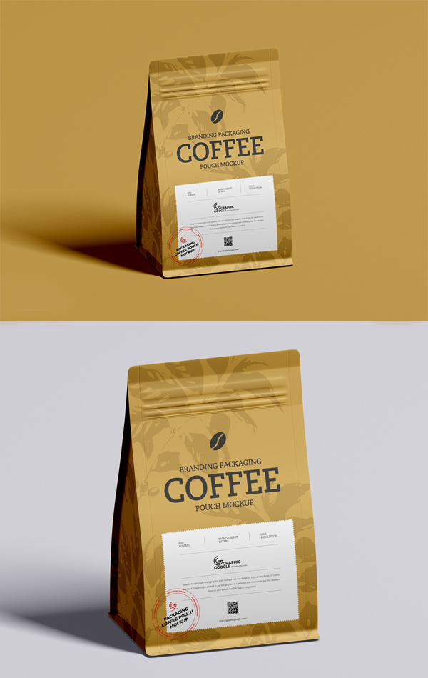 Free Coffee Packaging Pouch Mockup