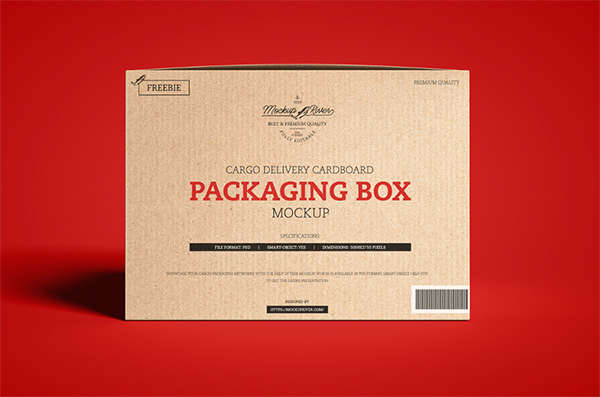 Free Cargo Delivery Cardboard Packaging Box Mockup Template