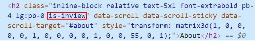 The is-inview class added by Locomotive Scroll