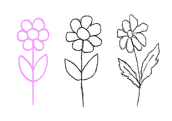 Drawing Exercises for Beginners Tutorial Draw Flower Step 6