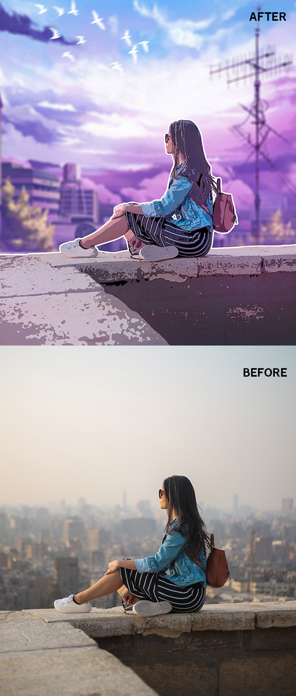 How to Turn Photo into Anime Style Effect Photoshop Tutorial
